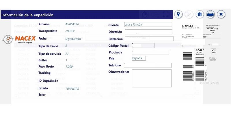 Pantallazo de la aplicación Nacex y Correos Express